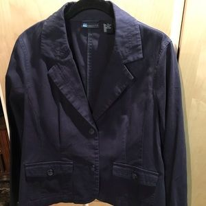Relativity Womans Navy Blue Two Button Jacket X Lg